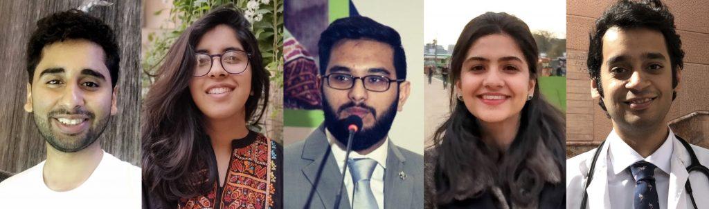 From L to R: Ali Aahil Noorali, Anam Noor Ehsan, Kaleem Ahmed, Faiza Urooj, and Muhammad Huzaifa Zafar.